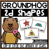 2D Shapes Sides Task Cards Groundhog Theme