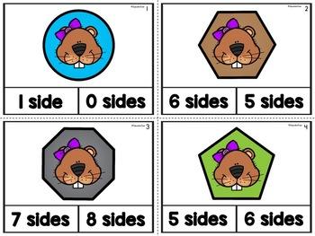 2D Shapes Sides Task Cards Groundhog Theme