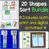 2D Shapes Sort Bundle (Print & Digital) Learning Centers &