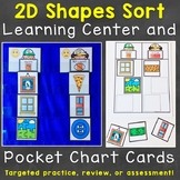 2D Shapes Sort Learning Center & Pocket Chart Cards Printable