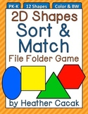 2D Shapes Sort & Match File Folder Game
