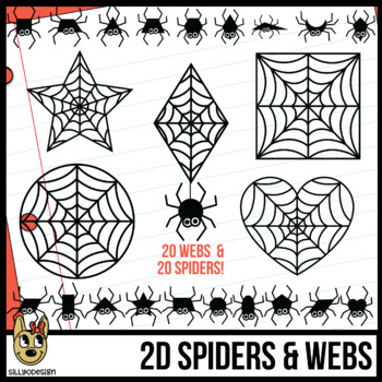 2D Shapes: Spiderwebs and Tiny Spiders Clip Art