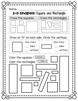 2D Shapes - Square and Rectangle