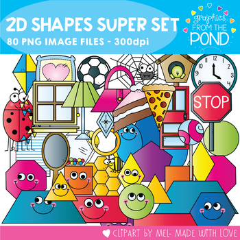 2D Shapes Super Set  - Clipart for Teachers