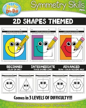 2D Shapes Symmetry Skill Activity Pack — Includes 15 Sheets!