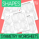 2D Shapes Symmetry Worksheets - 3 versions - symmetry activities