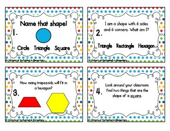2D Shapes Task Cards: 1st Grade CC: Reason with shapes and attributes