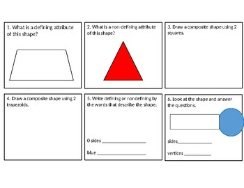 2D Shapes Task Cards