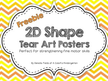 2D Shapes Tear Art Posters