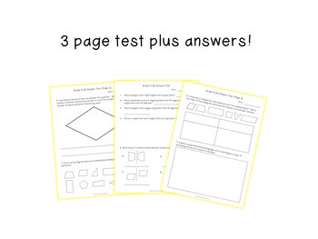 2D Shapes Test for Grade 3 (Ontario Curriculum)