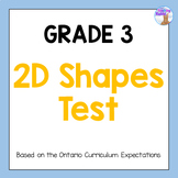 2D Shapes Test for Grade 3