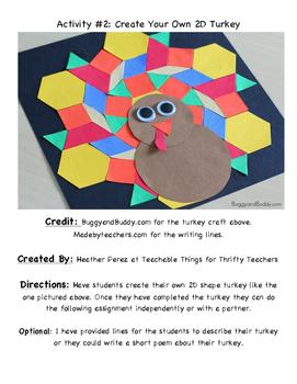 2D Shapes-Thanksgiving Turkey Activities