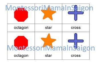 2D Shapes Montessori Three Part Vocabulary Cards
