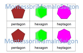 2D Shapes Montessori Three Part Cards