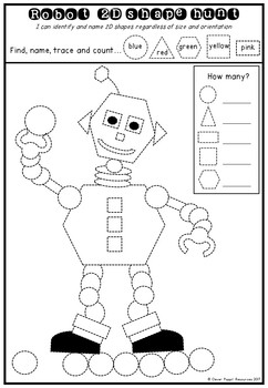 2D Shapes: Trace, Count, Draw Printables, Robot Theme