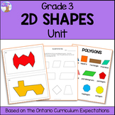 2D Shapes Unit for Grade 3 (Ontario Curriculum)