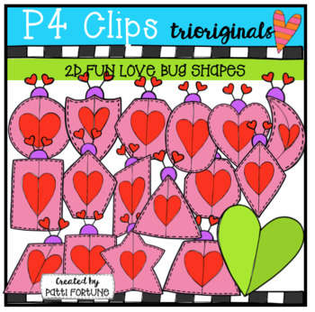 2D Shapes Valentine's Day Love Bugs {P4 Clips Trioriginals Digital Clip Art}