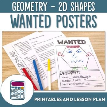 2D Shapes Wanted Posters Activity Printables and Lesson Plan
