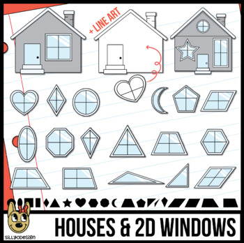 2D Shapes: Windows with Houses Clip Art
