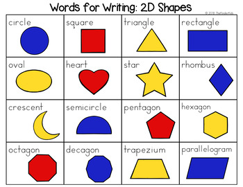 2d Shapes Word List Writing Center By The Kinder Kids Tpt