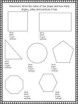 2nd grade shapes worksheet assessment front and back or two pages. Black Bedroom Furniture Sets. Home Design Ideas