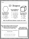 2nd Grade Shapes Worksheet / Assessment (Front and Back or