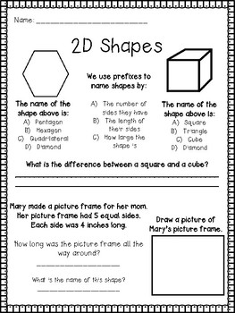 2D Shapes Worksheet / Assessment (Front and Back or Two Pages)