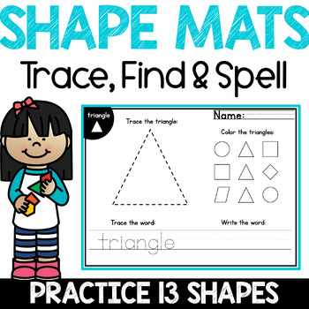 2D Shapes Worksheets - Eleven Mats to Recognize, Draw & Spell 2D Shapes