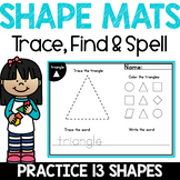 2D Shapes Worksheets for Kindergarten - Recognize, Draw & Spell 2D Shapes