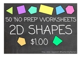 2D Shapes Worksheets (No Prep)