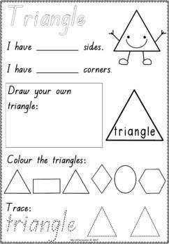 2D Shapes Worksheets QLD Beginners Font