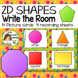 2D Shapes Write the Room - 14 cards four versions, four recording sheets