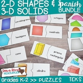 2D Shapes and 3D Solids Puzzles Bundle | Geometry TEKS {Sp