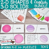 2D Shapes and 3D Solids and Their Attributes Puzzles Bundl