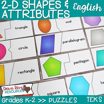 2D Shapes and Their Attributes Puzzles | Two-Dimensional Shapes | Geometry TEKS