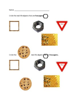 2D Shapes exit tickets (real world examples)