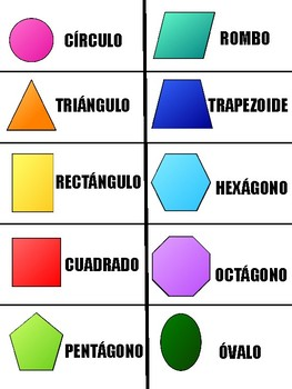 2D Shapes in English and Spanish - Figuras 2D en Espanol y Ingles