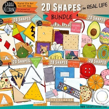 2D Shapes in Real Life Clip Art Bundle