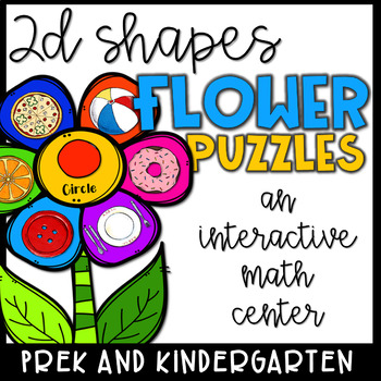 2D Shapes Math Center- Flower Puzzles