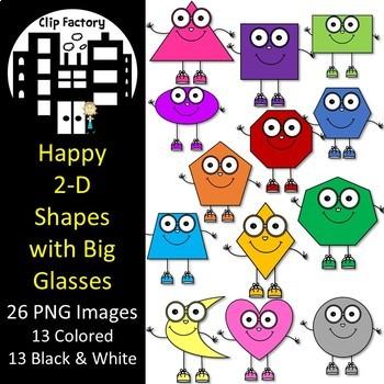 Happy 2D Shapes with Big Glasses Clip Art