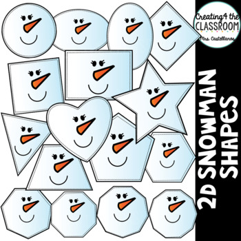 2d Snowman Shapes Clipart 2d Shapes Holiday Clipart