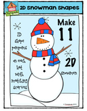 2D Snowmen Shapes {P4 Clips Trioriginals Digital Clip Art}