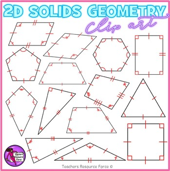 Math clipart: 2D Solids with congruence lines