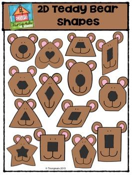 2D Teddy Bear Shapes  {P4 Clips Trioriginals Digital Clip Art}