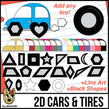 2D Shapes: Tires and Cars Clip Art