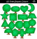 2D Tree Shapes Clipart