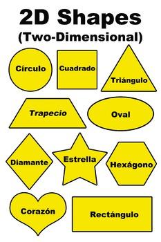 2D Two-Dimensional Shapes(Formas) Poster/Handout - Spanish (Español)