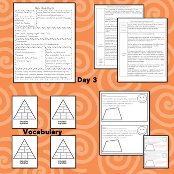 2D and 3D Figures Guided Math Lesson Plans 3.6A 3.6B 3.6E