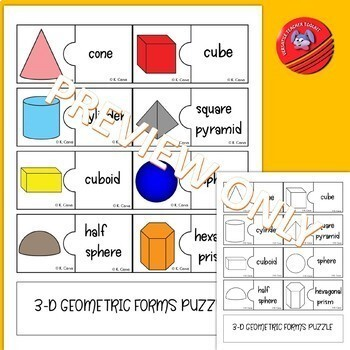 2D and 3D Geometric Shapes Puzzle