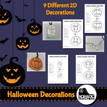2D and 3D Halloween decorations - colour, cut and paste 12 different decorations